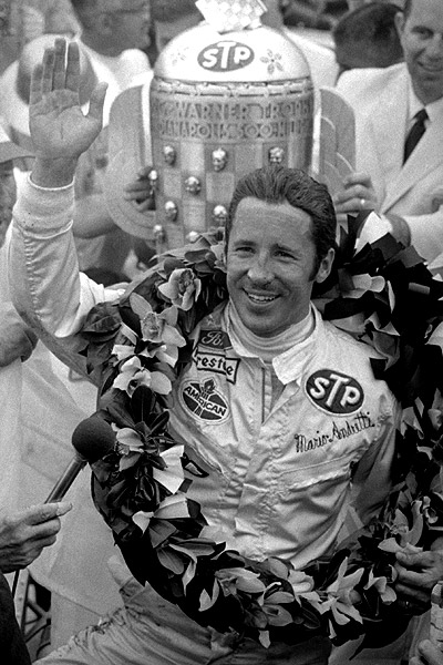 Mario Andretti Celebrates His Victory